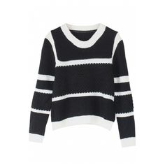 Round Neck Long Sleeve Stripes Trims Sweater ($20) ❤ liked on Polyvore featuring tops and sweaters