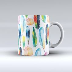 Bright Water Color Painted Feather Ink Fuzed Ceramic Coffee Mug or Tea... ($14) ❤ liked on Polyvore featuring home, kitchen & dining, drinkware, drink & barware, home & living, mugs, silver, handmade ceramic coffee mugs, tea-cup and ceramic tea mug