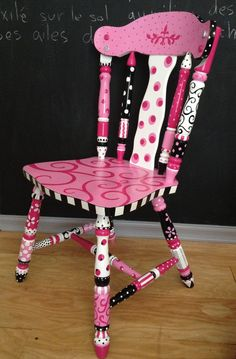 """Flirty Gurtie"" a pink, black & white painted chair Rebecca Waring-Crane"