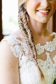 Pretty fishtail braid: http://www.stylemepretty.com/tennessee-weddings/2016/01/18/elegant-farmhouse-wedding-in-tennessee/ | Photography: Morgan Trinker - http://morgantrinker.com/