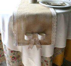 Burlap wedding decorations Burlap table runner by Bannerbanquet, $23.50