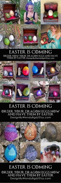 Easter is coming! Order your dragon eggs NOW and have them by Easter. Visit my shop on Etsy dragon eggs section and choose your dragon egg. :)  Please have in mind that I need time to make the eggs and that delivery of international shipments takes about 2 weeks.  #dragonegg #dragoneggs #dragons #geek #geekery #cosplay #Easter #Easteregg #Eastereggs #dragon #fantasy #fandom