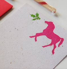Holiday Horse stationery set, equestrian christmas stationary, letter writing paper gifts. $8.00, via Etsy.