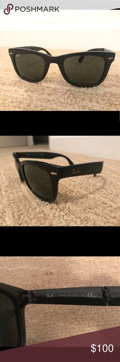 Black Folding Rayban Wayfarer Only wore these glasses a couple times! Ordered them straight off the Rayban website. There are a couple minor scratches on the lenses but were too small for the camera to focus on so they are not pictured. They are not noticeable when the glasses are on. Comes with the original case I bought them in. These are super easy to carry around since they fold up into a little square! Ray-Ban Accessories Sunglasses