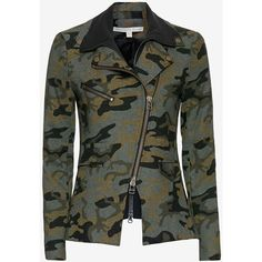 Veronica Beard Hadley Camo Jacket (1,055 CAD) ❤ liked on Polyvore featuring outerwear, jackets, zip jacket, pocket jacket, camo print jacket, lined jacket and lined nylon jacket