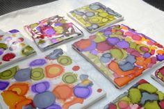 How to make Coasters with Alcohol Ink (or coffee cups, plates, vases, votives, the possibilities and effects are endless!)