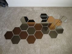 Throughout my scowering of the internet for affordable decoration ideas, I came across a post where someone had put together a mirror collage made up of hexagon shaped mirrors. Mirror Decor Living Room, Teen Room Decor, Ikea Mirror, Mirror Tiles, Wall Mirror, Honeycomb Wallpaper, Wall Art Wallpaper, Geometric Wall Art, Farmhouse Wall Decor