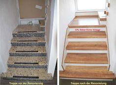 Treppengalerie Treppenrenovierung Schran, vor - und - nach der Renovierung alter Treppen,