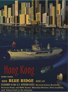 The Modern Vintage Hong Kong Poster (USS Blue Ridge moored whilst a Star Ferry glides by).