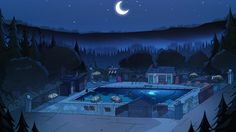 Gravity Falls S1E15 background art Gravity Falls Town, God Of War Game, Fall Background, Animal Crossing, Reverse Falls, Animation, Header, Minecraft, Woods