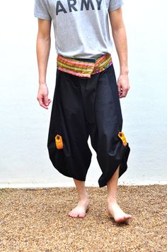 Love it!  Black Thai design Cotton Fisherman Pants        By SiamTrendy