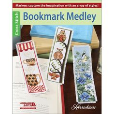 Leisure Arts-Bookmark Medley. Mark your spot in a favorite book with these charming bookmarks! From birds to cats to lighthouses and coffee mugs, you'll find just the right design in this collection.