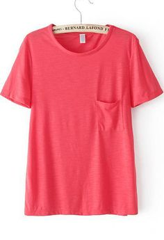 Watermelon Red Short Sleeve Pocket Loose T-Shirt 11.90