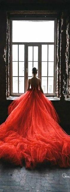 Beautiful red #wedding dress.