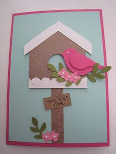handmade card from hello stamper ... punch art bird house with bright pinck two step bird ... luv it!