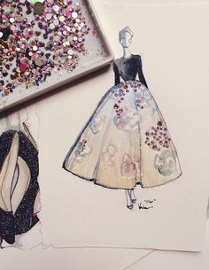 Sequins, crystals, & beads applied over a watercolor sketch by Katie Rodgers aka Paper Fashion