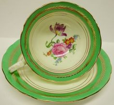 Aynsley Bone China England FOOTED CUP SAUCER SET Floral Gold Laurel & Green Band