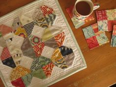 Mug rug. No pattern. Four patch/snowball combo block. Quilted Table Toppers, Quilted Table Runners, Scrappy Quilts, Mini Quilts, Snowball Quilts, Quilting Projects, Sewing Projects, Quilting Ideas, Sewing Crafts