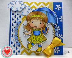 Card by Suzanne Kohler featuring Club La-La Land Crafts (March 2015) exclusive Singing in the Rain Marci, Rainy Day Stamp Set and these Dies - Curly Clouds, Filigree Umbrella, Raindrops :-)   Club La-La Land Crafts subscription details are here - http://lalalandcrafts.com/Club_La-La_Land_Crafts.html    Coloring details and more Design Team inspiration here - http://lalalandcrafts.blogspot.ie/2015/04/club-la-la-land-crafts-march-2015-club.html