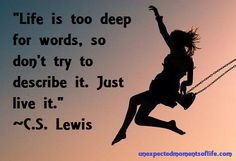 "Unexpected Moments Community Blog: Daily Dose of Quote: ""Life is too deep for words, so don't try to describe it.  Just live it."" ~C.S. Lewis"