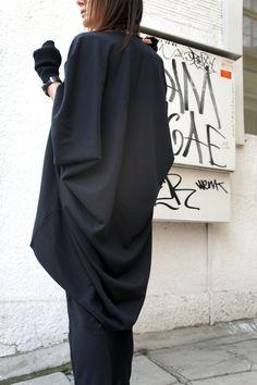 Oversized Loose Extra Large Black Blouse / Asymmetric by Aakasha