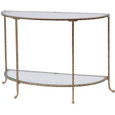 Out There Interiors Hammered Gold Console Table With Glass Top ($850) ❤ liked on Polyvore featuring home, furniture, tables, accent tables, glass top console table, gold console table, gold accent table, glass top table and gold furniture