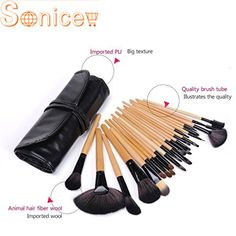 Sonicee Pro Wood 24Pcs Makeup Brushes Kit Professional Cosmetic Make Up Eyeshadow Powder Brush Set  Pouch Bag Case Black ** Click image for more details.