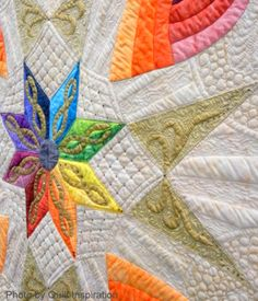 Rainbow Nouveau by Margaret Solomon Gunn, 2014 Road to California, closeup photo by Quilt Inspiration