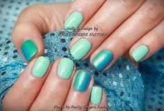 Gelish Mint and Blue Ombre nails by FUNKY FINGERS FACTORY