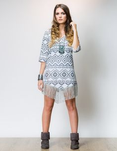 Vestido Apache Navajo cinza www.espacoboho.com.br
