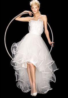 Reception dress:   suzanne ermann fantasia short in front long in back wedding dress