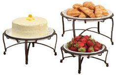Amazon.com - InterDesign York Round Buffet Stand, Set of 3, Bronze/White