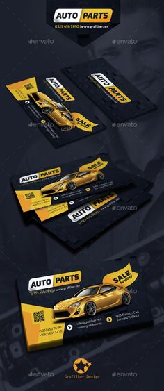 Auto Spare Part Business Card Templates — Photoshop PSD #corporate #auto parts • Available here → https://graphicriver.net/item/auto-spare-part-business-card-templates/14762042?ref=pxcr