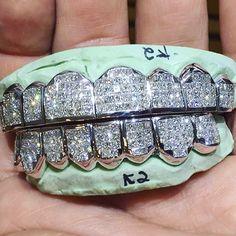 White gold diamond teeth | Grillz, Diamond grillz