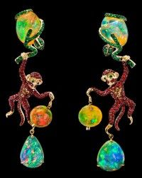 Lydia Courteille Tsavorite, Opal & Sapphire Monkey Earrings