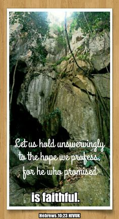 Hebrews 10:23 NIVUK  Let us hold unswervingly to the hope we profess, for he who promised is faithful.