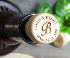 Personalized laser engraved wood-topped natural T-corks (wine bottle stopper) with organza bags. Custom wedding, shower, anniversary favors.