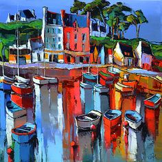 French Art Network | Lepape, Eric - PORT TUDY GROIX-  (80 x 80cm) - oil on linen painting.