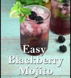 Easy Blackberry Mojitos are a super simple cocktail perfect for front porch sipping or entertaining friends. Blackberries, mint and lime create a fresh and delicious drink that you enjoy all year long! Limoncello Cocktails, Fruity Cocktails, Easy Cocktails, Summer Cocktails, Refreshing Drinks, Cocktail Drinks, Fun Drinks, Alcoholic Drinks, Mojito Drink