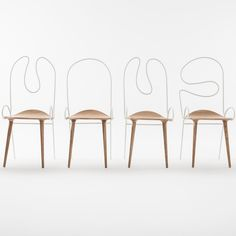 Sylph chair by Atelier Deshaus has a steel back bent to look like a line drawing