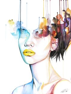 Highly Combustible - contemporary watercolor portrait art by defectivebarbie
