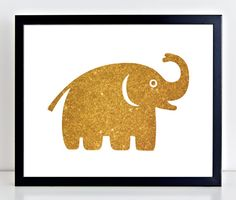 Gold Glitter Elephant Print, Gold Nursery Decor, Instant Download, $5 on PetrichorBlue