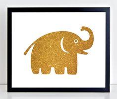 Gold Glitter Elephant Print, Gold Nursery Decor, Instant Download, $5 on PetrichorBlue
