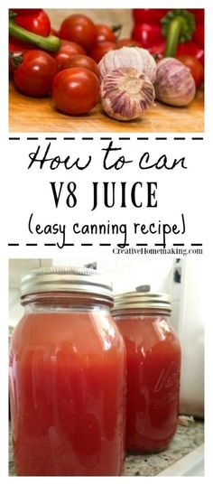 Easy recipe for canning homemade juice from fresh tomatoes and other vegetables. Easy canning recipe for beginners. Easy recipe for canning homemade juice from fresh tomatoes and other vegetables. Easy canning recipe for beginners. Canning Tomato Juice, Tomato Juice Recipes, Easy Juice Recipes, Detox Juice Recipes, Canning Tomatoes, Cleanse Recipes, Smoothie Recipes, Juice Cleanse, Canning Salsa