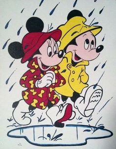 Mickey & Minnie: Singin' in the Rain by one.love on Etsy Mickey And Minnie Tattoos, Mickey And Minnie Love, Mickey Mouse Wallpaper, Mickey Mouse Cartoon, Mickey Mouse And Friends, Mickey Minnie Mouse, Disney Wallpaper, Retro Disney, Disney Love
