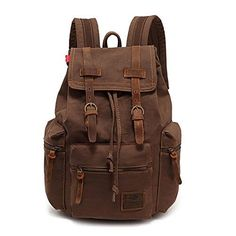 BESTOPE Backpack Rucksack Unisex Canvas Backpack Vintage Casual School Hiking Travel Backpack with Leather Strap Amy Green -- Click image for more details. (Note:Amazon affiliate link)
