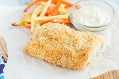 Crispy Baked Fish with Root Vegetable Fries and Lighter Tartar Sauce
