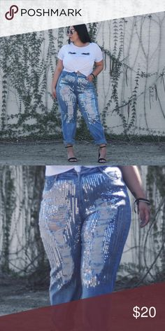 Sequin Jeans Boyfriend jeans with sequin design. Stretchy fabric. Only wore once. 2020ave Jeans Boyfriend