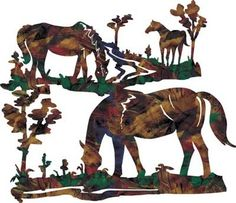 Metal Wall Art - Grazing Horses Trio Metal Wall Decor