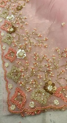 Saree Embroidery Design, Hand Embroidery Design Patterns, Hand Work Embroidery, Flower Embroidery Designs, Silk Ribbon Embroidery, Embroidery Fashion, Embroidery Fonts, Fancy Dress Design, Hand Work Blouse Design